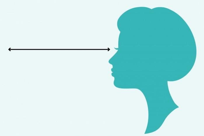 Voorbeeld van veel kijkruimte. Naast het hoofd zit lege ruimte, aan dezelfde kant als de kijkrichting.