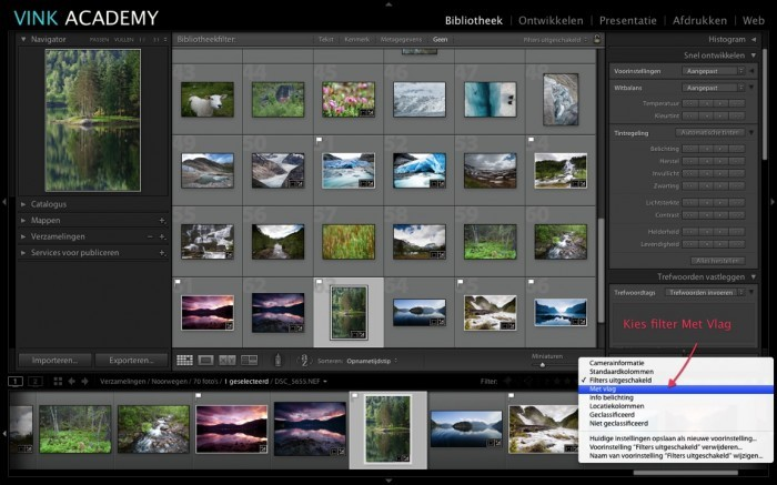 Lightroom: Filter aanzetten