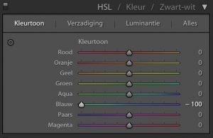 Lightroom: Kleurtoon naar -100