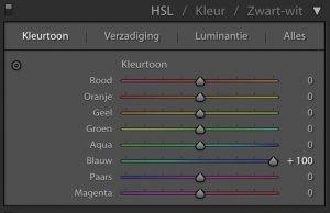 Lightroom: Kleurtoon naar +100