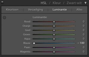 Lightroom: Luminantie naar -100