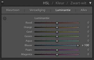 Lightroom: Luminantie naar +100