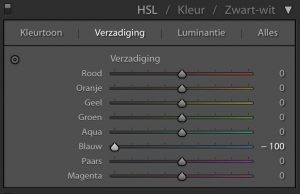 Lightroom: Verzadiging naar -100