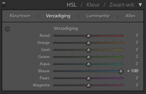 Lightroom: Verzadiging naar +100