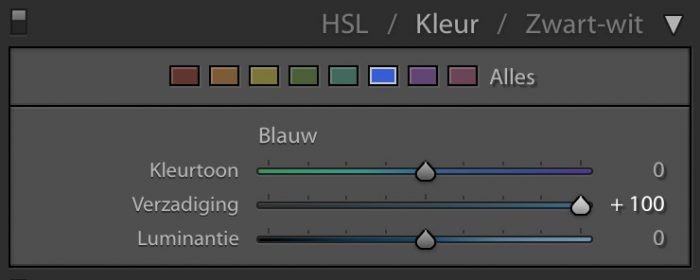 Bij kleur zie je eerst de verschillende kleuren, met daaronder de verschillende functies
