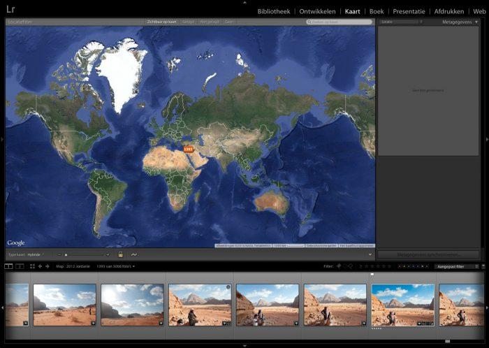 Lightroom Kaartmodule: Wereldkaart