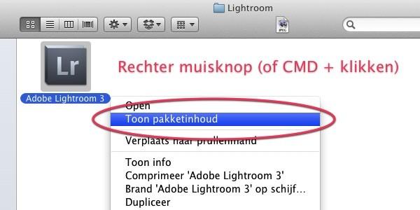 Lightroom Taal Wijzigen op de Mac - Toon Pakketinhoud