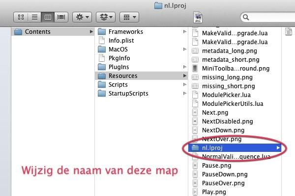 Lightroom Taal Wijzigen - Wijzig de naam van het mapje nl.lproj