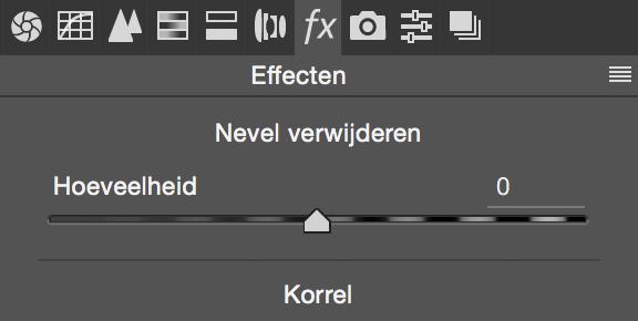Nevel verwijderen staat onder het tabje FX (Effecten) in Camera RAW in Photoshop