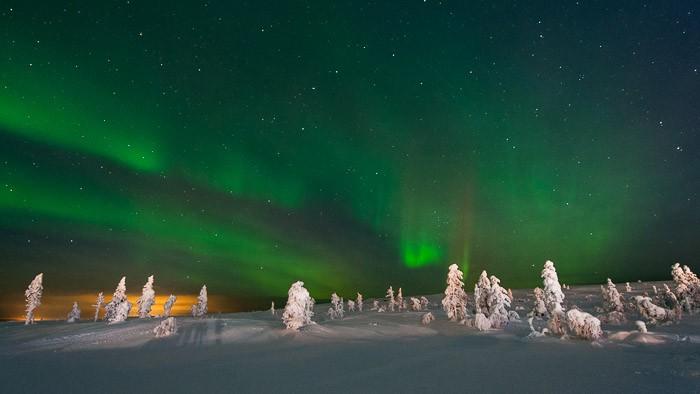 Noorderlicht gefotografeerd in Lapland bij -15