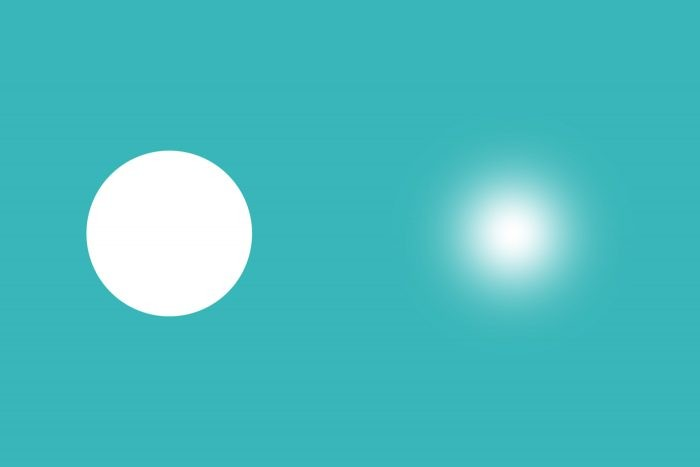 Links: gum met een harde rand (hoge hardheid) Rechts: dezelfde grootte, maar nu met een zachte rand (lage hardheid)