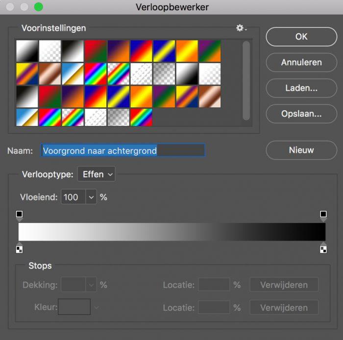 Selecteer in Photoshop de eerste instelling van de verloopbewerker om een overgang van wit naar zwart te krijgen.