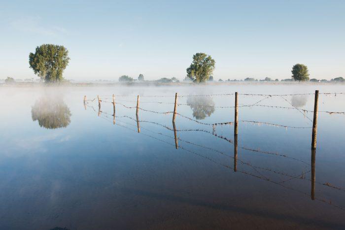 Reflectie aan de Maas, met een dun mistlaagje boven het water.
