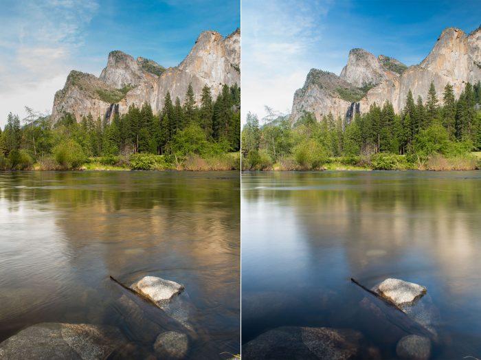 Links: sluitertijd van 0,4s Rechts: sluitertijd van 6s. Door de langere sluitertijd is de reflectie rechts mooi zacht en rustig geworden.