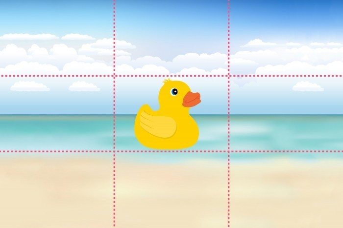 Verdeel het beeld in 9 gelijke vlakken volgens de regel van derden.