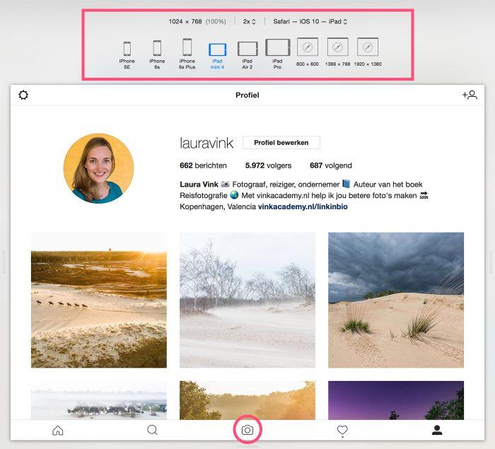 Met de adaptieve modus kies je bovenin een toestel om de mobiele browser na te bootsen. Onderin staat nu (eventueel na het verversen van de pagina) de knop om een foto vanaf je computer te uploaden.