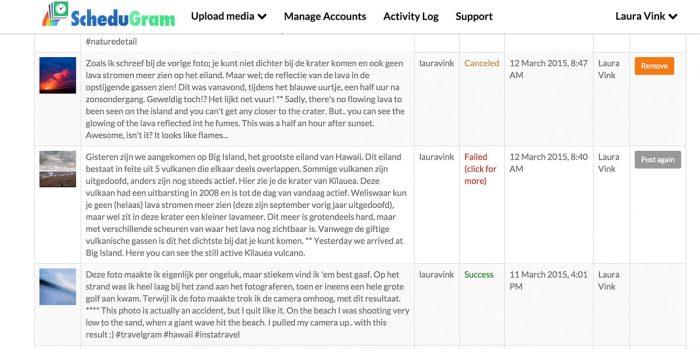 Bij de Activity Log zie je de status van ingeplande foto's en eerder geplaatste foto's.