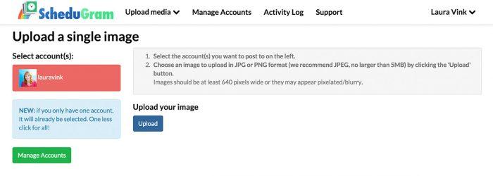 Upload de foto's via de webbrowser naar Schedugram om deze rechtstreeks op Instagram te kunnen plaatsen