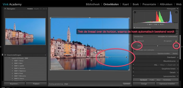 Scheve horizon corrigeren in Lightroom met lineaal