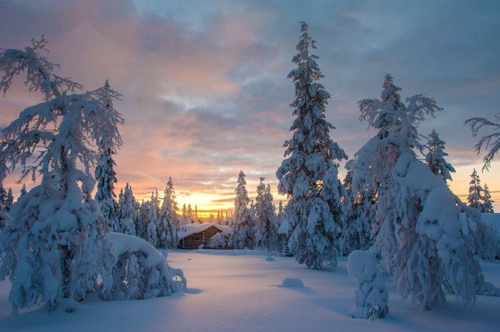 Een zonsopkomst in Lapland. De sneeuw is nog vers en de enige voetsporen zijn die ik zelf achter laat.