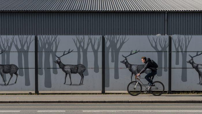 Fietser met op de achtergrond een mooie muur in Kopenhagen.