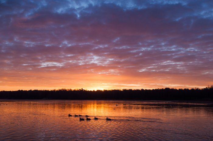 De zonsopkomst is in de winter vrij laat. Op 13 december kwam de zon om 8:42 pas op.