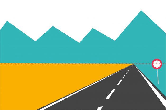 FOUT: Laat je niet verleiden om een lijn die schuin wegloopt de verte in, als referentie te gebruiken voor de horizon.