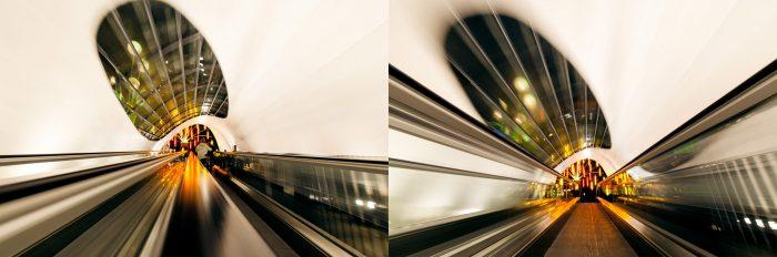 Variatie in standpunt. Links: Hoog op de leuning. Rechts: Laag op het rolpad.