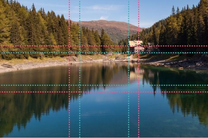 Het huisje bij het bergmeer staat zowel volgens de regel van derden en de gulden sneden op de snijpunten