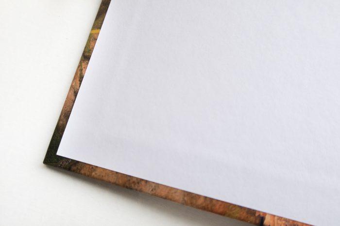 Het witte papier is het schutblad. Je ziet dat de foto van de kaft nog best verder doorloopt onder het schutblad!