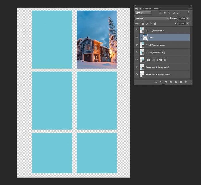 Met het uitknipmasker in Photoshop plaats je de foto's in de vakjes