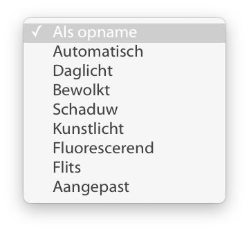 Klik op 'Als opname' voor het menu om te kiezen voor de lichtbron.