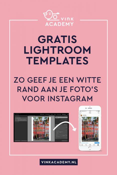 Gratis Lightroom templates voor witte rand om Instagram foto's