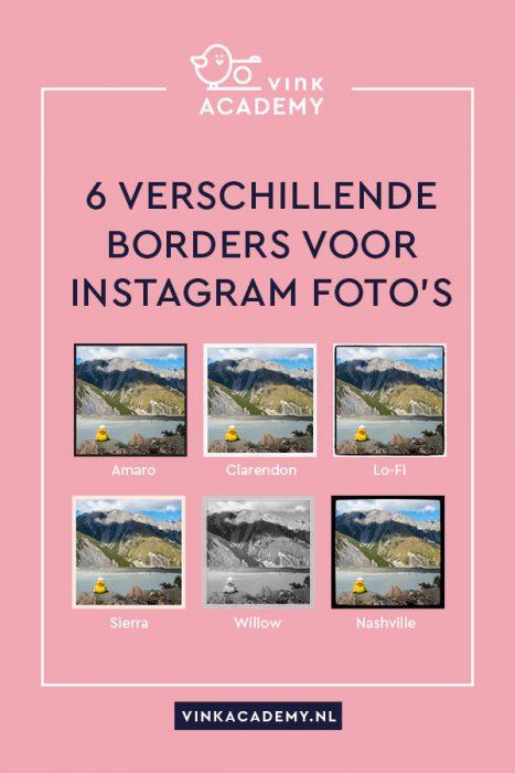 zes verschillende borders/randen voor Instagram foto